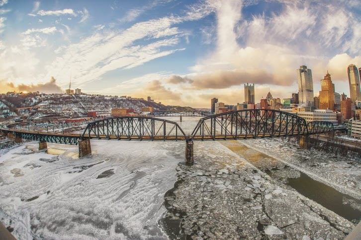 DiCello_fisheye liberty bridge sunset ice river