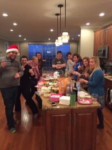 "Cookie Exchange Participants posing in their ""I'm a crazy radio DJ"" pose"