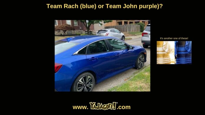 yajagoff Blog and YaJagoff Podcast. Is this a blue car?