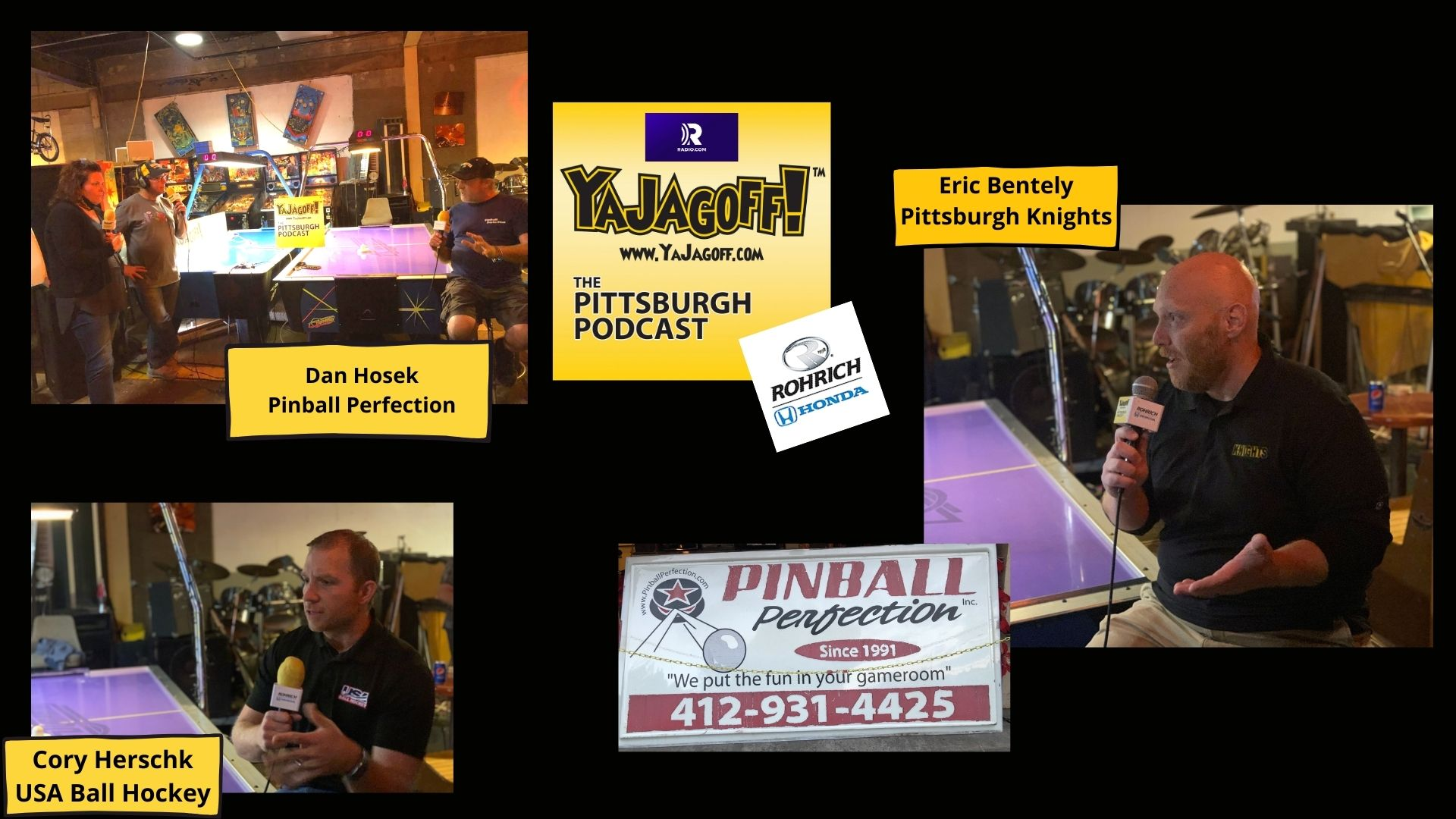 YaJagoff Podcast Guest Collage Pinball Pwerfection