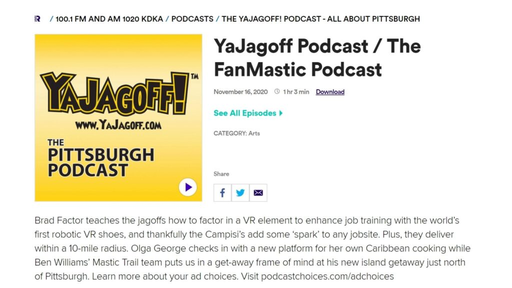 YaJagoff Podcast player bar from Mastic trail