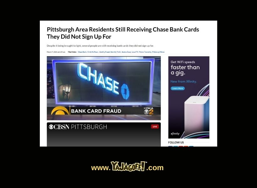 News screenshot of Pittsburgh residents recieving chase bank cards they didn't sign up for