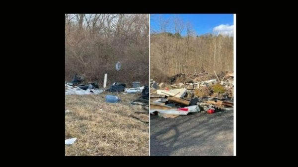 Jagoff dumped trash on the side of the road