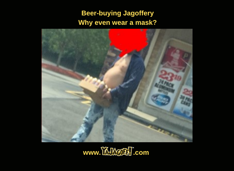 shirtless man with beer gut carrying beer out of the store